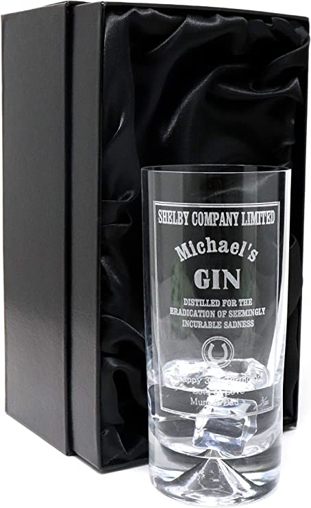 Peaky Blinders Gin Design Grabado//personalizado Dimple Highball Glass
