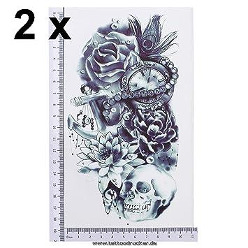 Tatuaje para el brazo negro y azul oscuro, tatuaje adhesivo temporal de calavera con flores de ...