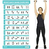 Vive Resistance Band Workout Poster - Laminated Bodyweight Hitt Exercise Chart for Abs, Glute, Back, Legs - Stretch…