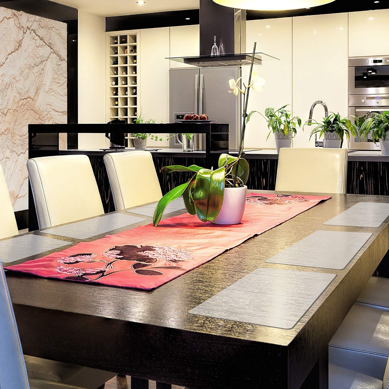 43 x 28 cm Boao 6 Pi/èces Sets de Table Transparent Set de Table en Plastique Sets de Table R/ésistant /à la Chaleur Sets de Table Antid/érapants pour Table Salle /à Manger Cuisine