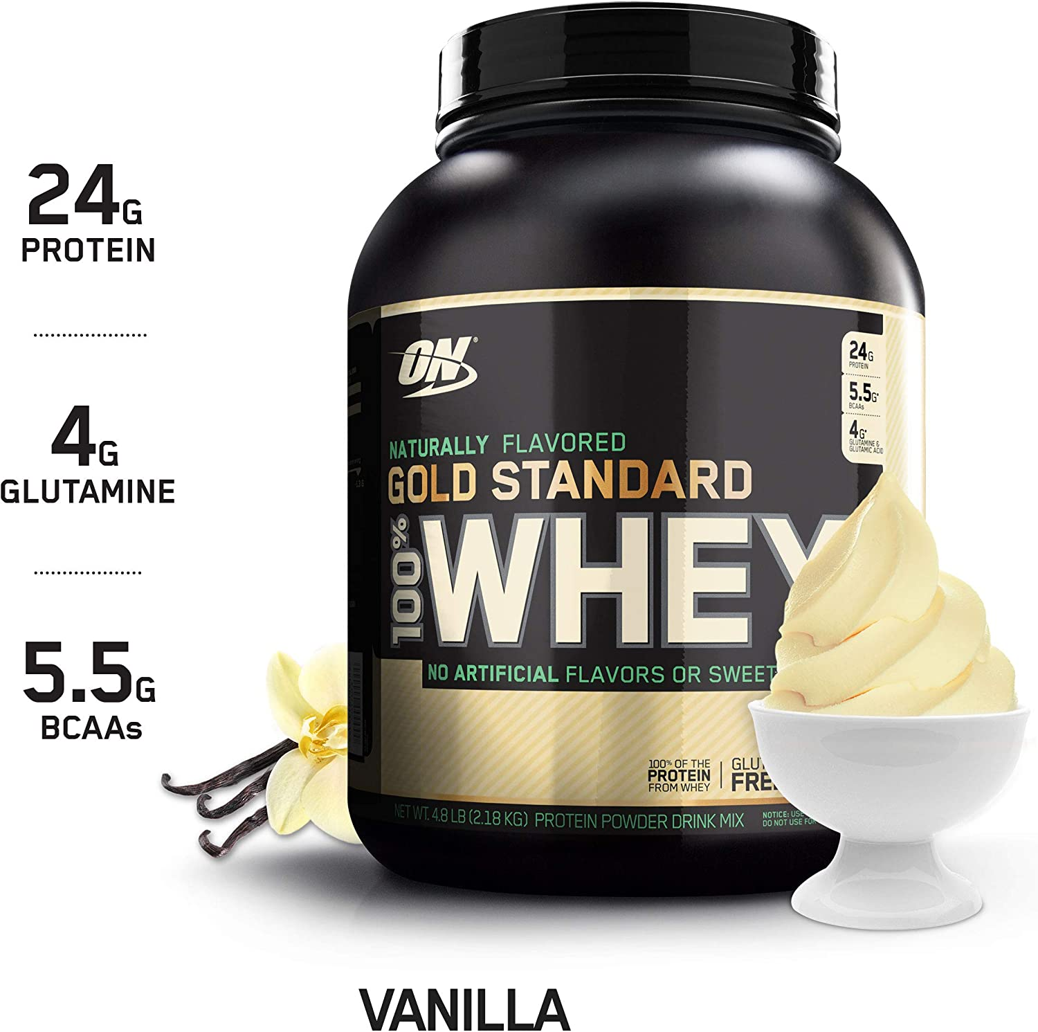 OPTIMUM NUTRITION GOLD STANDARD 100 Whey Protein Powder, Naturally Flavored Vanilla, 4.8 Pound