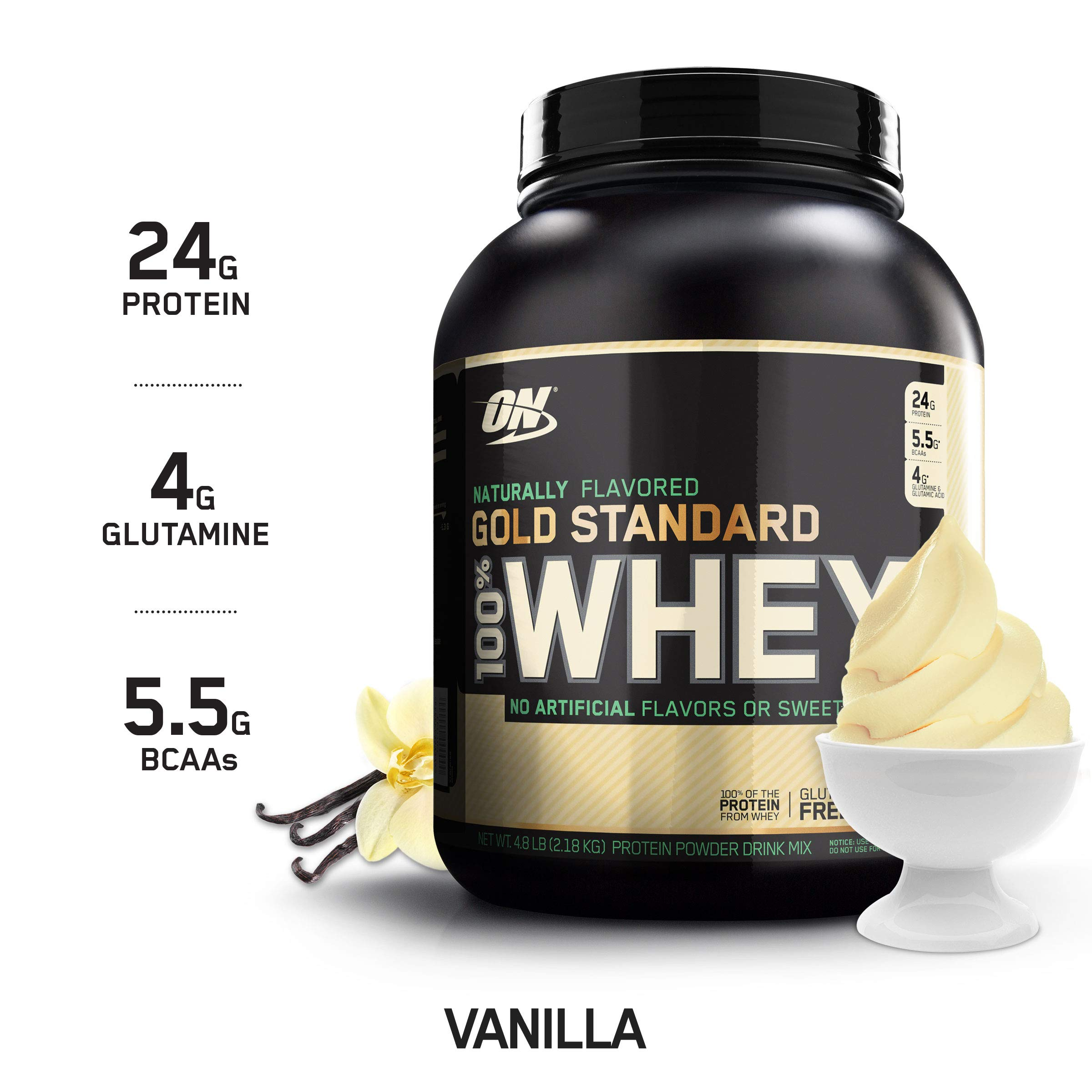 OPTIMUM NUTRITION GOLD STANDARD 100% Whey Protein Powder, Naturally Flavored Vanilla, 4.8 Pound by Optimum Nutrition