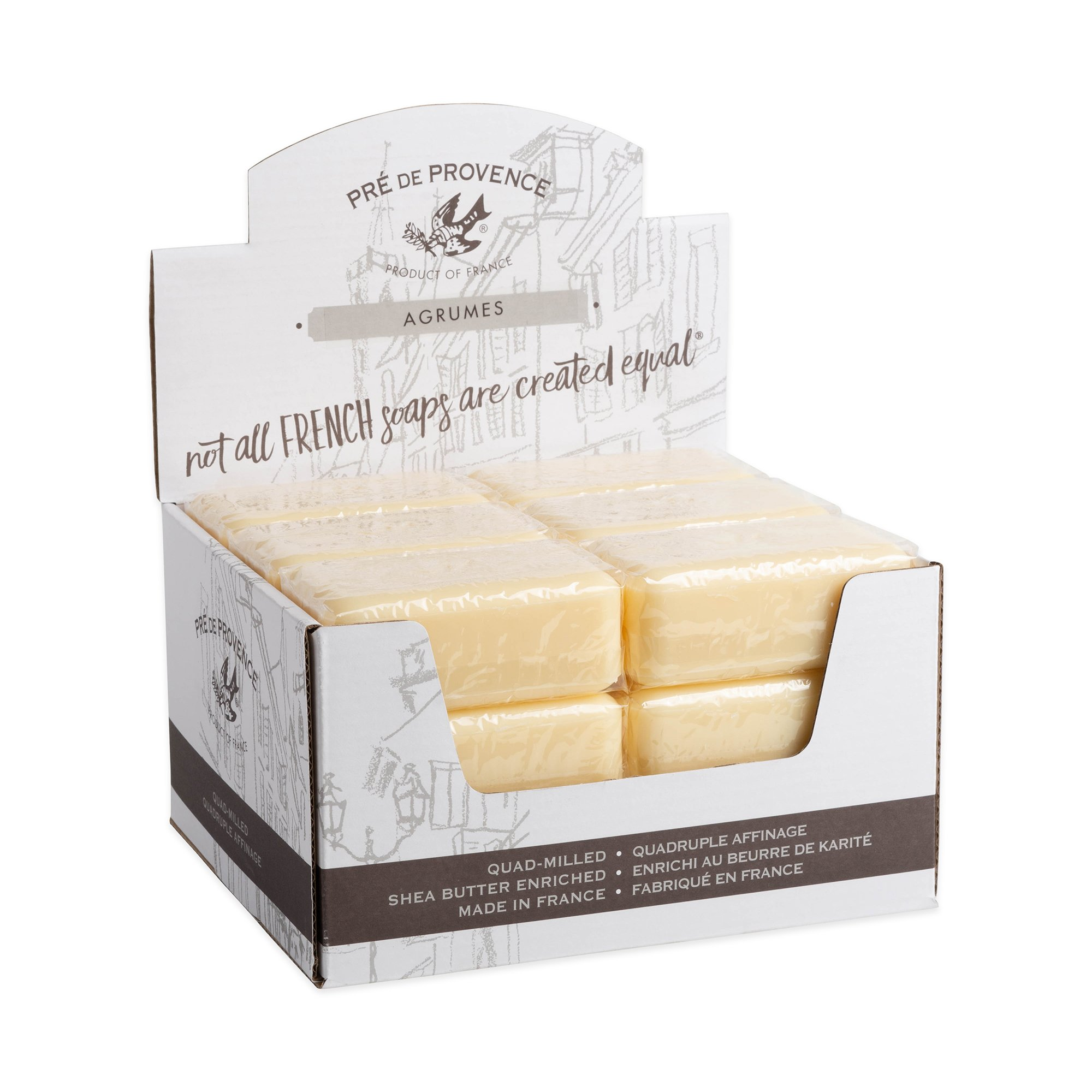 Pre de Provence Artisanal French Soap Bar Enriched with Shea Butter, Agrumes, 150 Gram (Pack of 18)