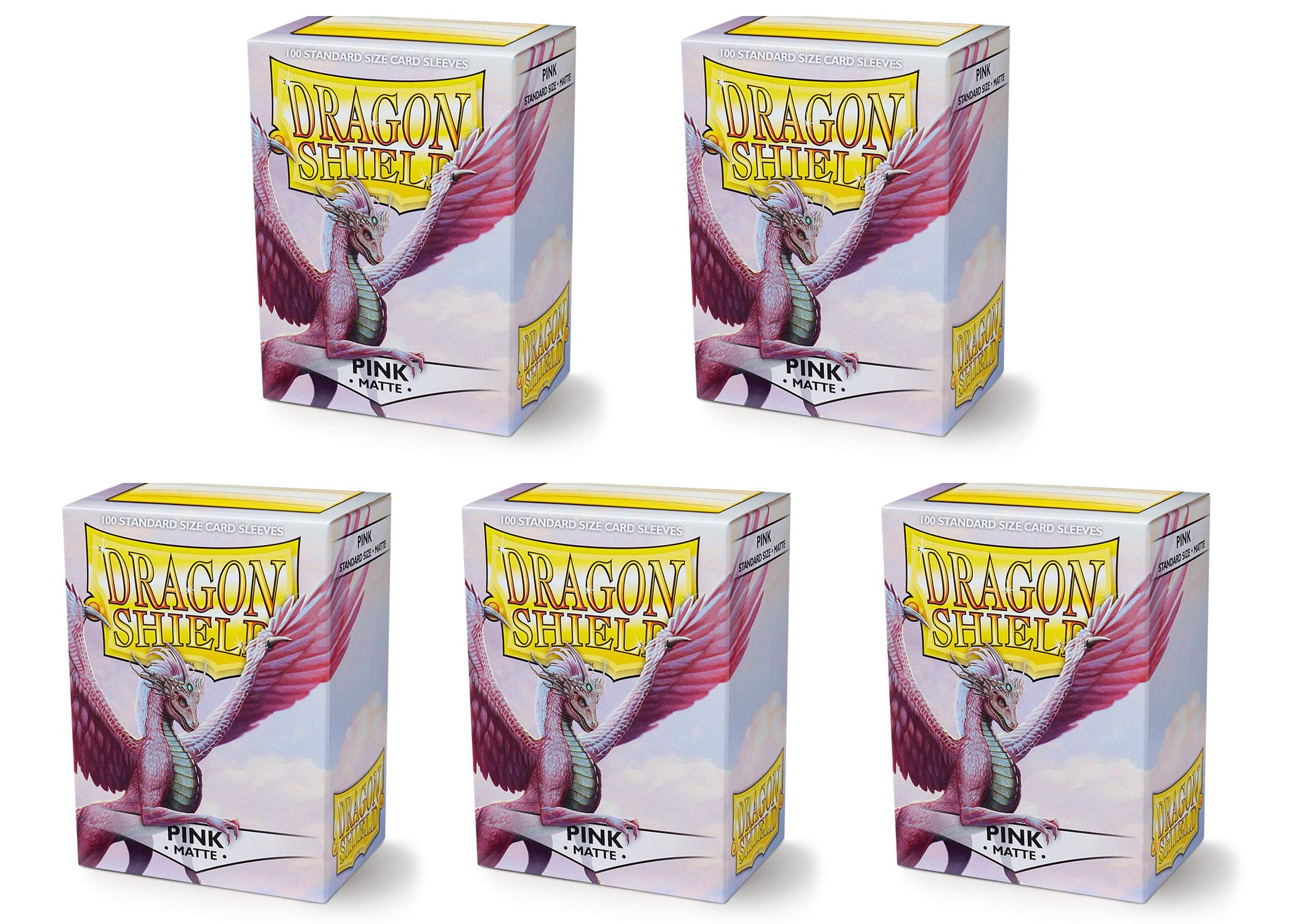 5 Packs Dragon Shield Matte Pink Standard Size 100 ct Card Sleeves Value Bundle!
