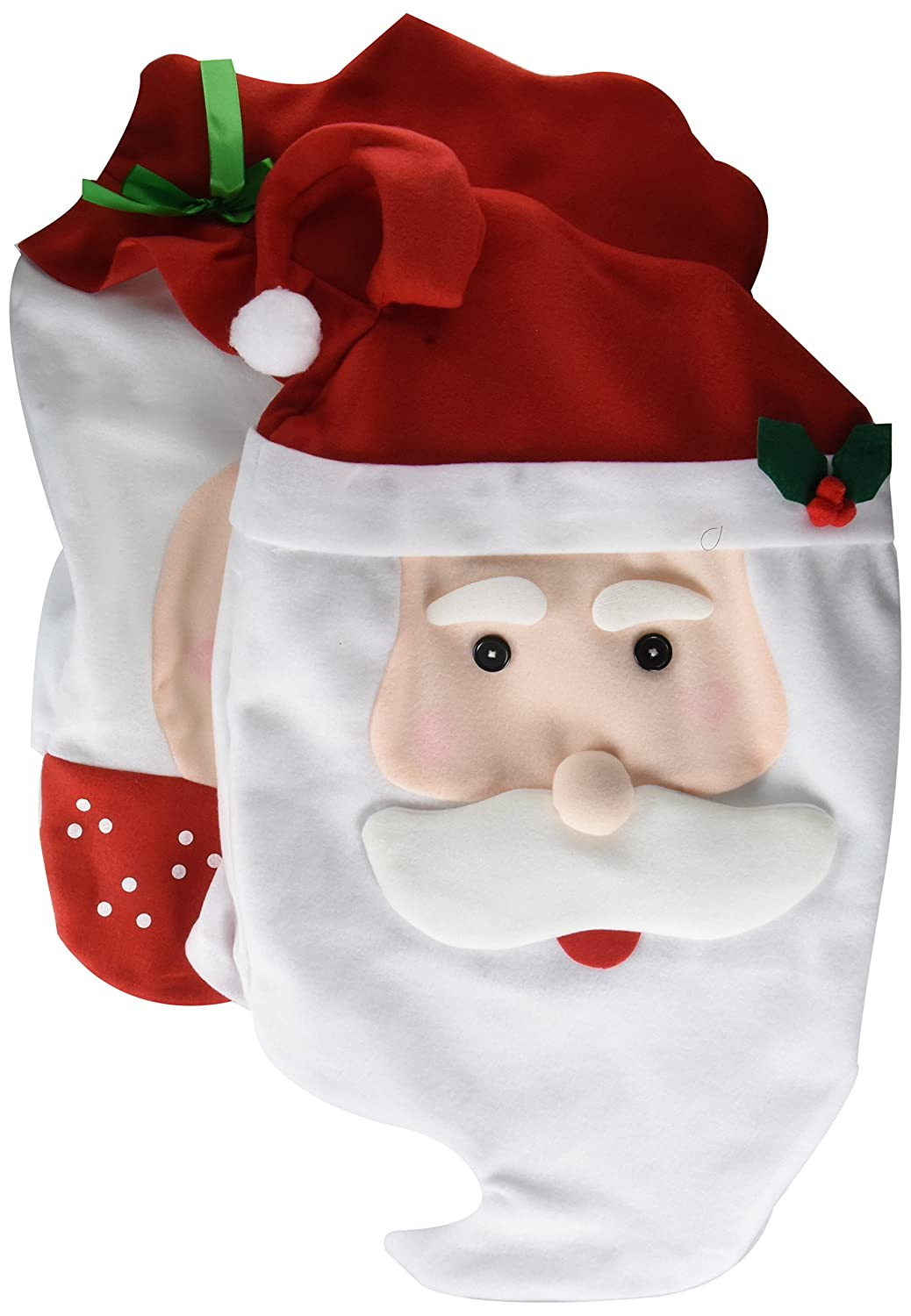 GIM Christmas Decor Kitchen Chair Slip Covers Red Adorable Featuring Mr & Mrs Santa Claus for Holiday Party Festival Halloween Kitchen Dining Room Chairs (Set of 2)