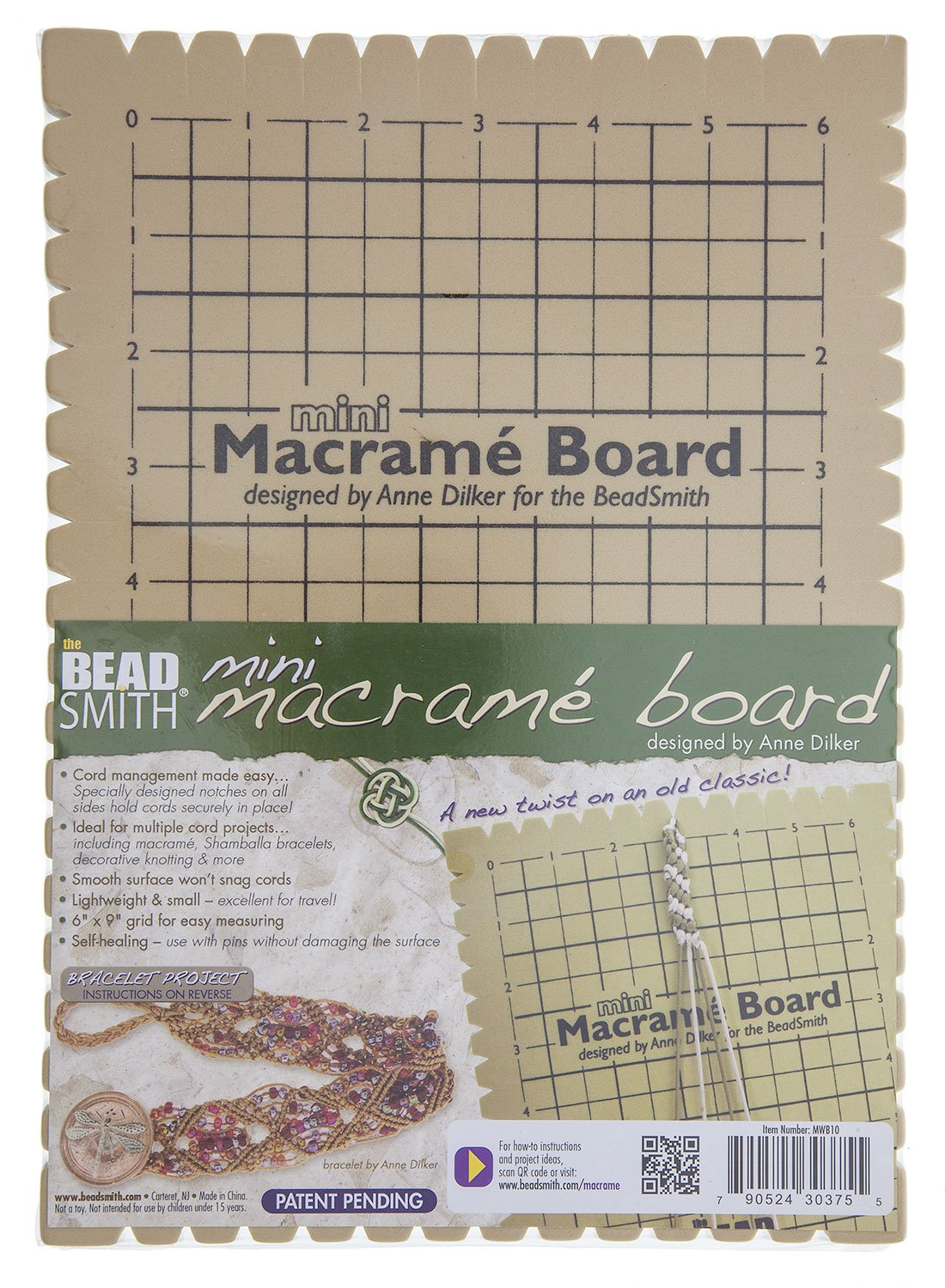 Beadsmith MWB10 Macrame Board, Mini - 9 x 6 Inches