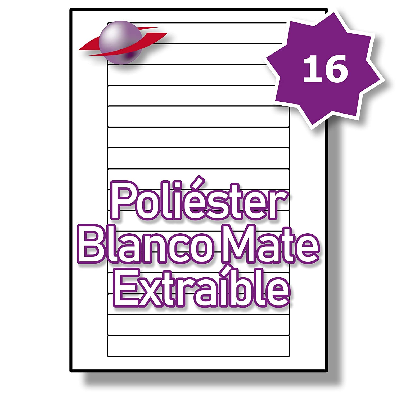 16 Par Hoja, Hoja, Hoja, 25 Hojas, 400 Etiquetas. Label Planet® Etiquetas de Poliéster Blanco Mate Extraíbles para Impresión Láser 145 x 17mm, LP16/145 MWR. 9d4cc7