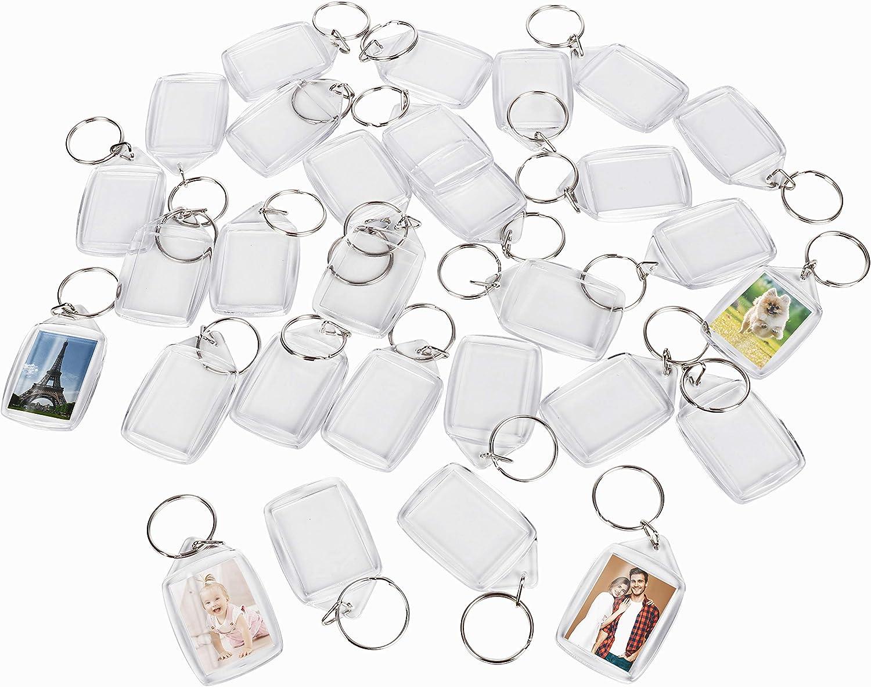 Llaveros de Fotos de Acrilico (200 Piezas) - 3,4 x 5,4 cm Llavero en Blanco - Transparente Insertar Fotos Llaveros - plástico Fotos Personalizadas Llavero - Apto para Hombres y Mujeres