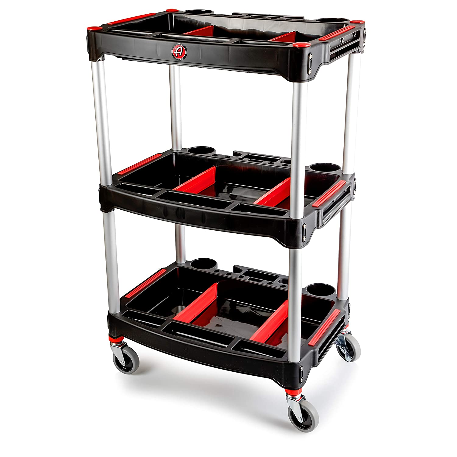Adam's Standard Detailing Cart - Compact Designed Garage Storage Cart Stores All of Your Detailing Products and Tools - Customizable Storage Compartments and Magnet Tool Bar