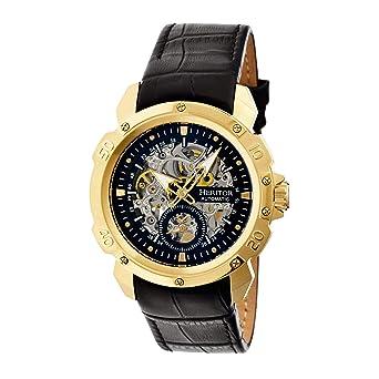 bbadaa02a Amazon.com: Heritor Automatic Men's Carter Black Leather Watch ...