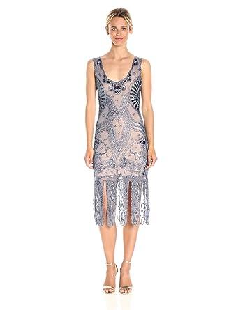 c67c1b79 Image Unavailable. Image not available for. Color: Unique Vintage Women's  Sinclair Beaded Flapper Dress, Dusty Blue, ...