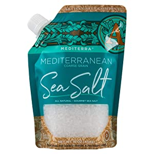 SaltWorks Mediterra Mediterranean Sea Salt Coarse Grain Pour Spout Pouch, 16 Ounce