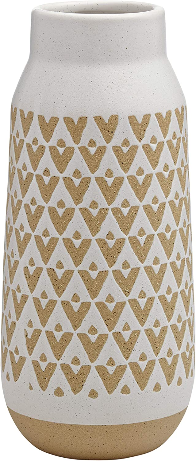 Amazon Brand – Stone & Beam Emerick Rustic Tall Stoneware Decor Vase with Geometric Pattern - 12 Inch, Brown and White