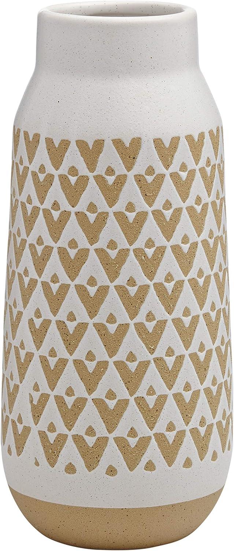 Amazon Brand – Stone & Beam Emerick Rustic Tall Stoneware Decor Vase with Geometric Pattern - 12 Inch, Brown and White