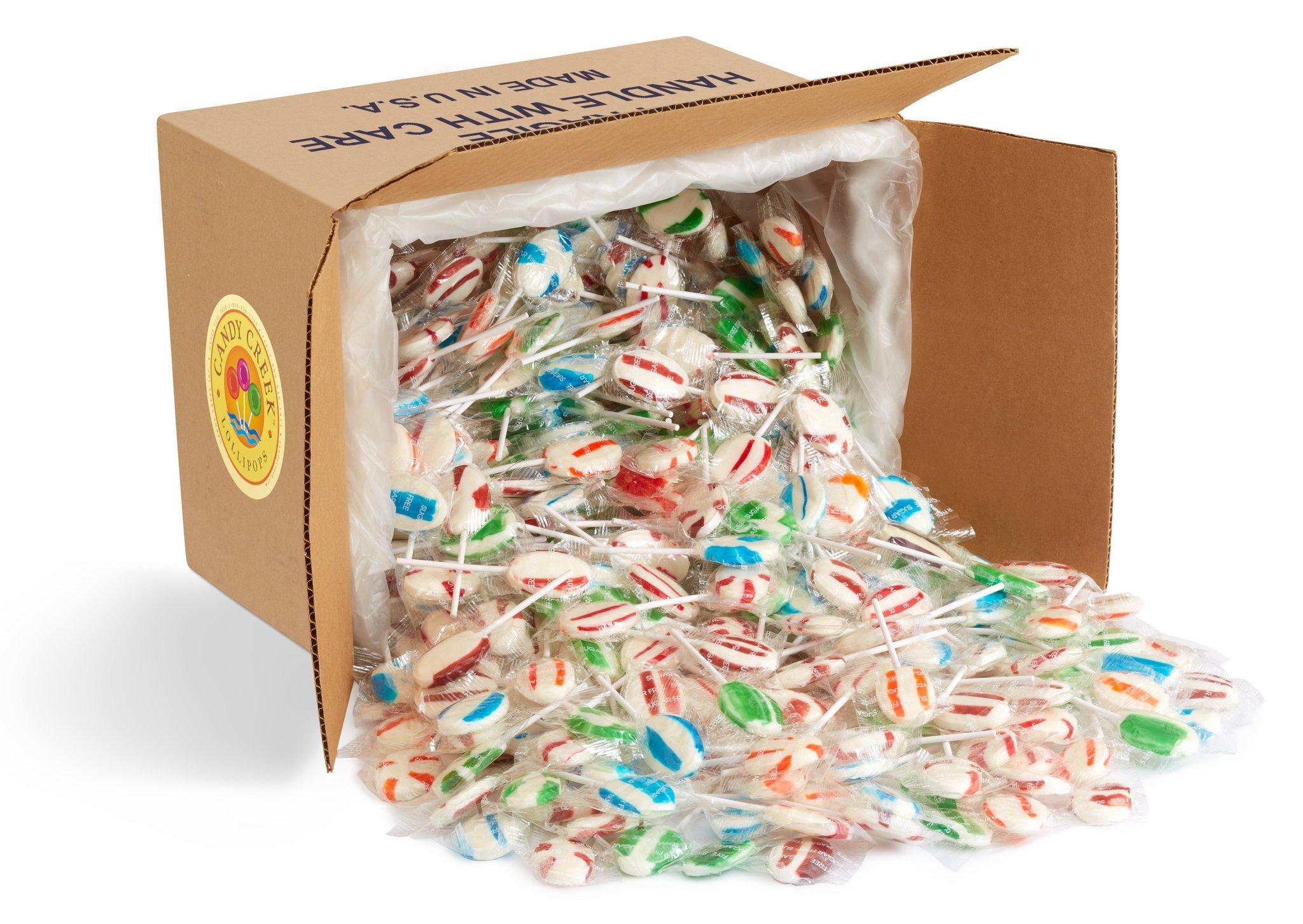 Oval Sugar Free Fruit Zany Lollipops by Candy Creek, Bulk 12 lb. Carton, Assorted Flavors by Candy Creek Lollipops