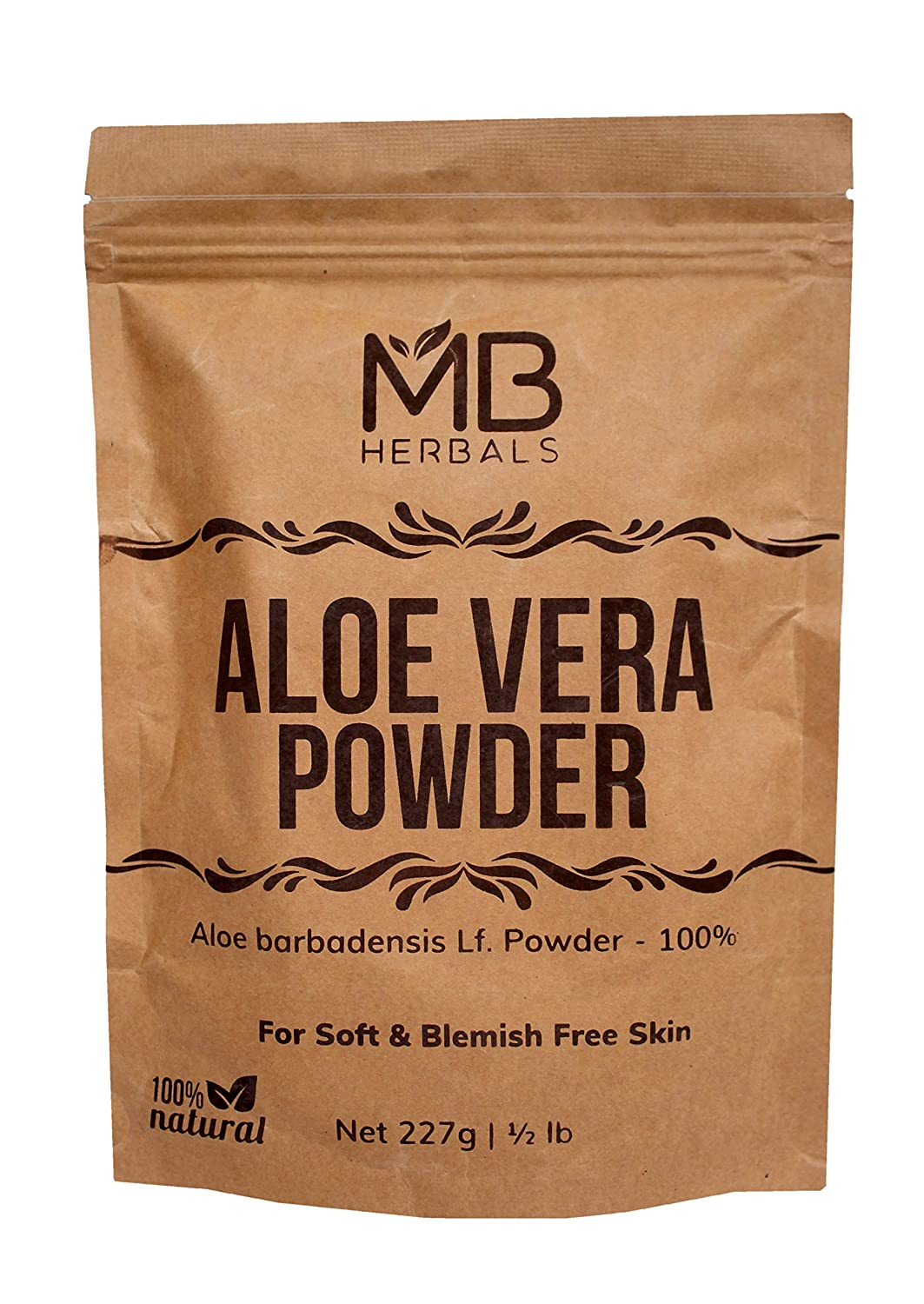 MB Herbals Aloe Vera Powder 100g | 3.5oz | 100% Pure & Organically Cultivated | Natural Skin Moisturizer | Controls Blemish Acne Pimples & Fine Lines | EXTERNAL USE ONLY