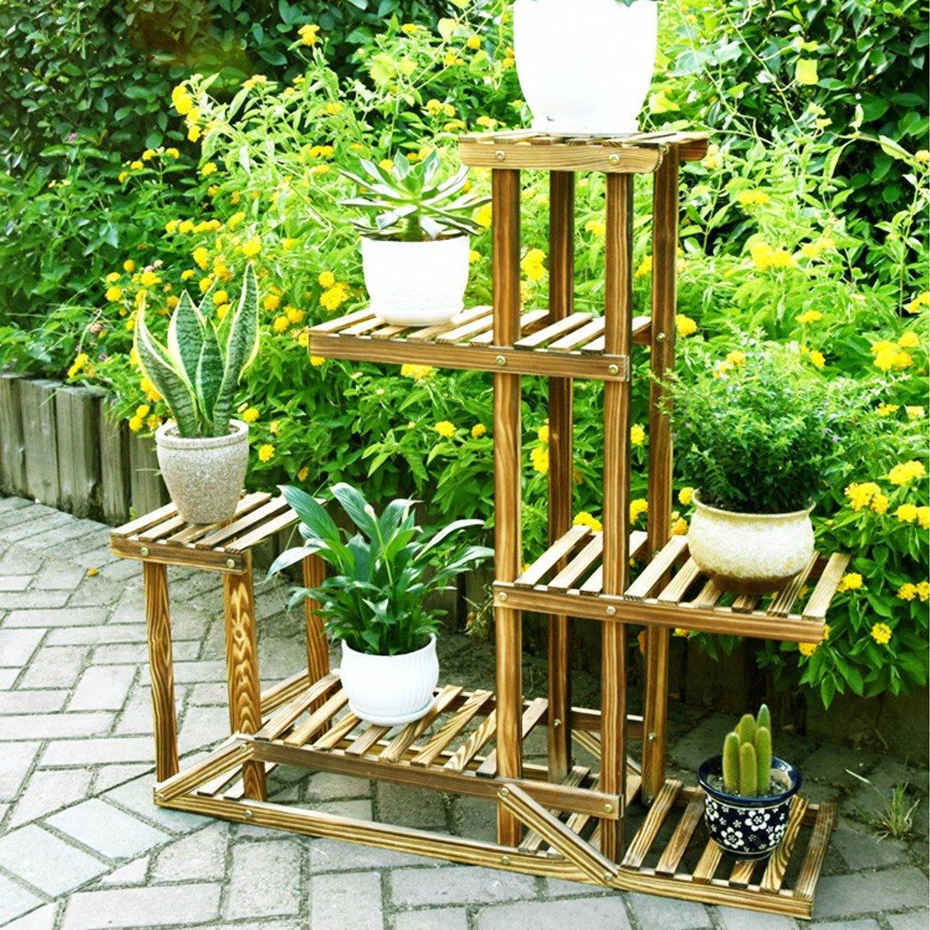 Étagère à plantes et pots de fleurs en bois