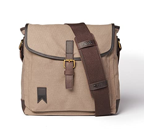 3294a0434c0b Navali Waxed Canvas and Leather Laptop Satchel Messenger Bag — Perfect  Everyday Shoulder Bag  Amazon.ca  Luggage   Bags