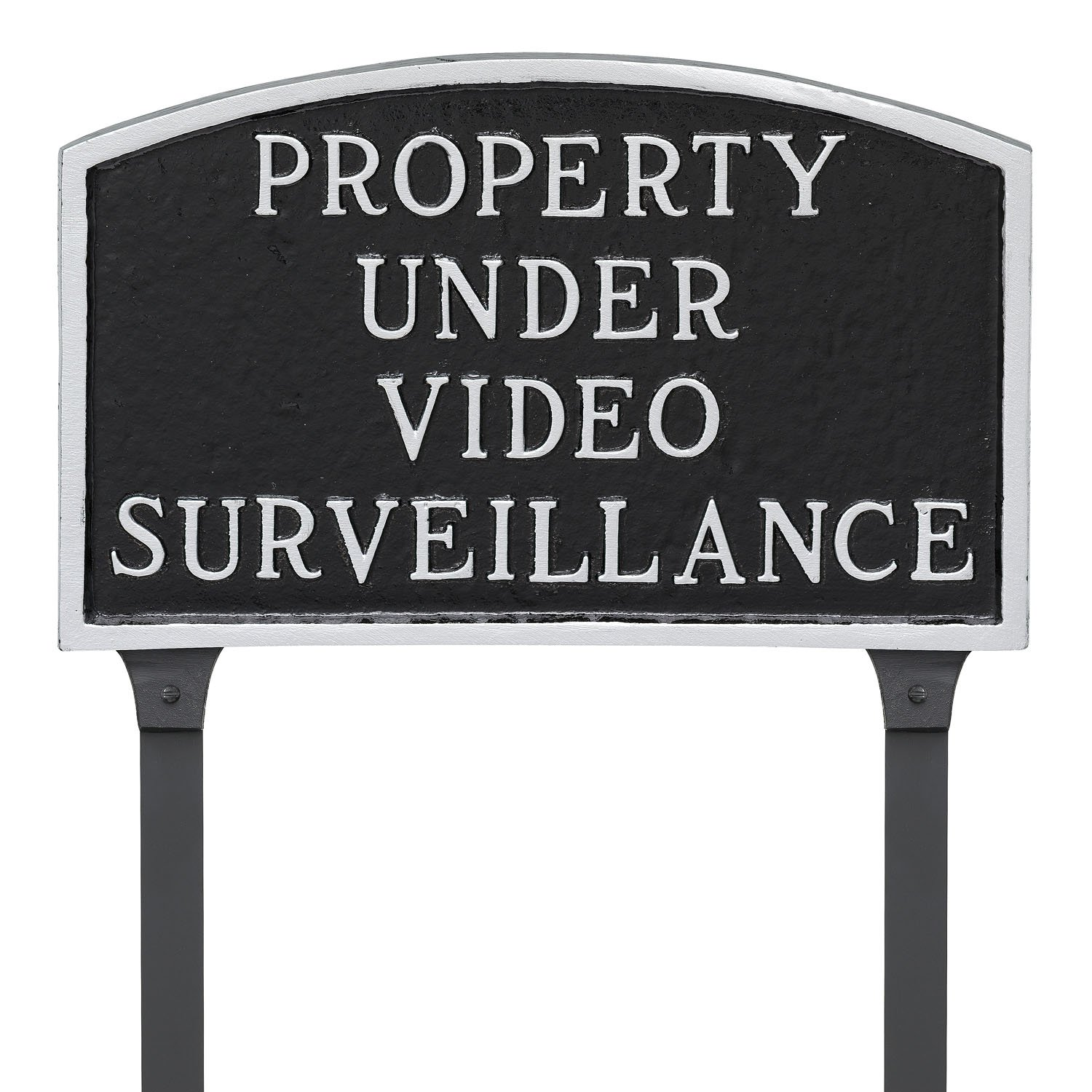 Montague Metal Products 13'' x 21'' Property Under Video Surveillance Statement Plaque & 23'' Stake, Black/Silver