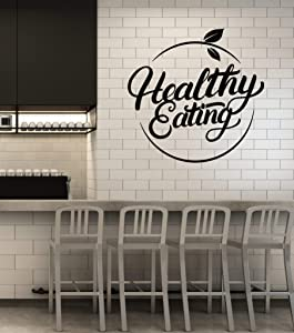 Vinyl Wall Decal Healthy Eating Diet Organic Food Dining Room Stickers Mural Large Decor (g1701) Black