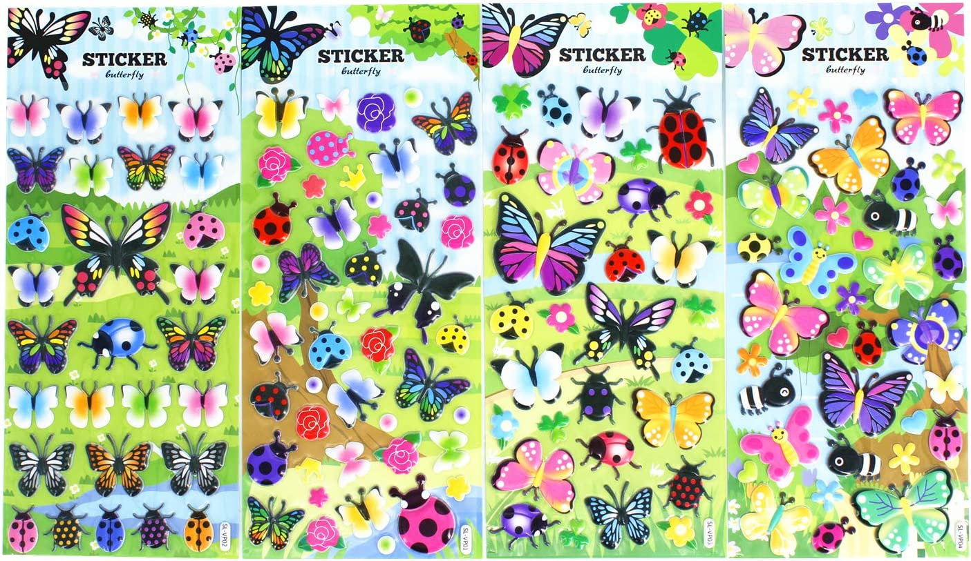 Butterfly Stickers 4 Sheets with Multi Color Butterflies Ladybug Beetle Bee and Flower Decals Stickers for Kids Scarpbooking Crafts 120 Stickers
