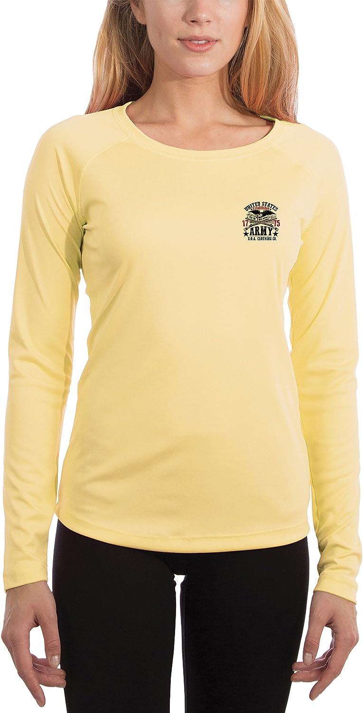 Dead Or Alive Clothing U.S Long Sleeve T-Shirt Medium Pale Yellow Army Fort McClellan Womens UPF 50