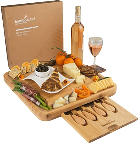 Bamboo Cheese Board and Knife Set in Kraft Gift Box   Charcuterie Serving Platter – Unique Gift for Birthdays, Mom, Wedding Registry, Housewarming – ...