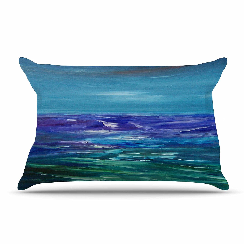 30 by 20-Inch 30 X 20 Kess InHouse Cyndi Steen Moonlit Waves Blue Purple Standard Pillow Case