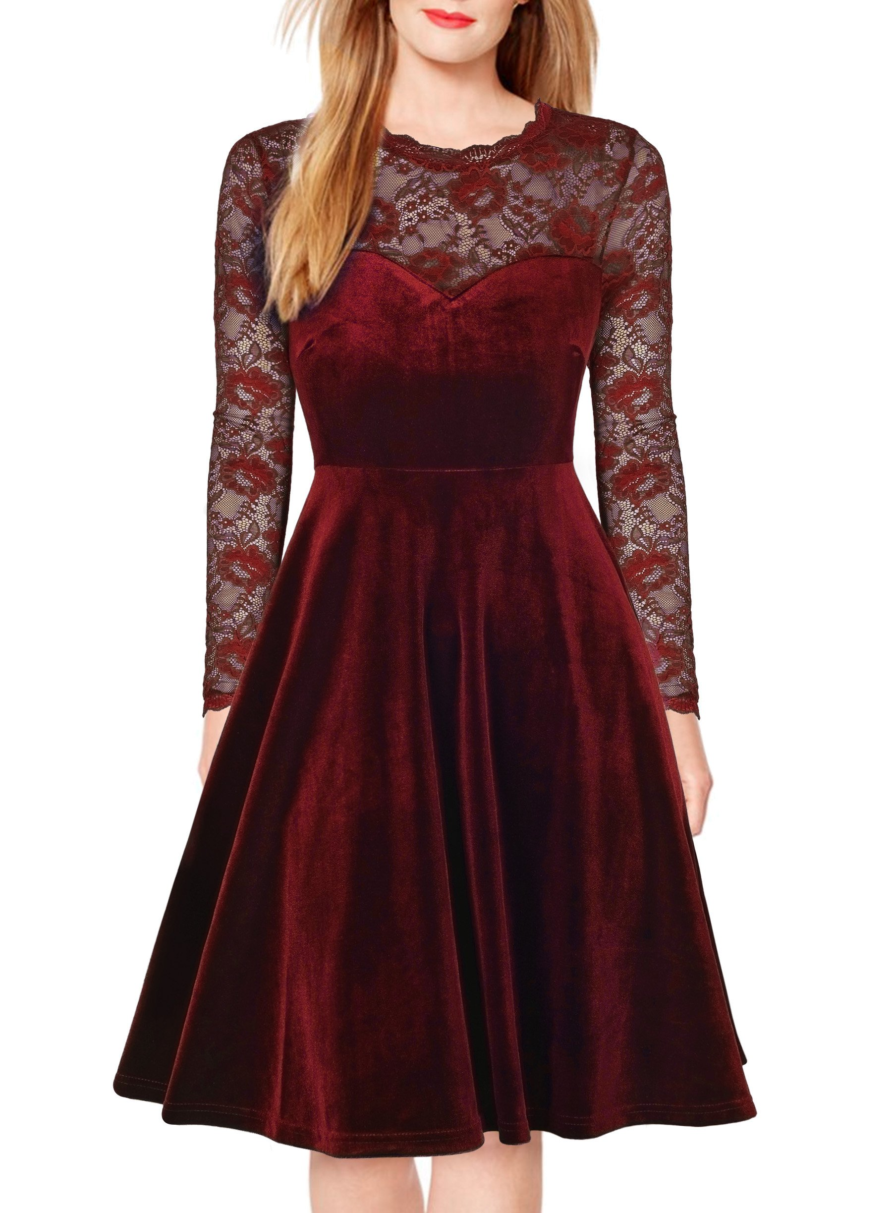 FORTRIC Women Vintage Floral Lace Long Sleeve Cocktail Party Formal Swing Dress Burgundy M
