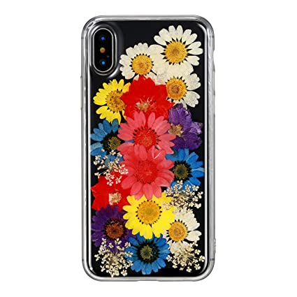 IPhone X Case Crosspace IPhone10 Real Flower Handmade Colorful Daisy Custom Floral Pressed Soft