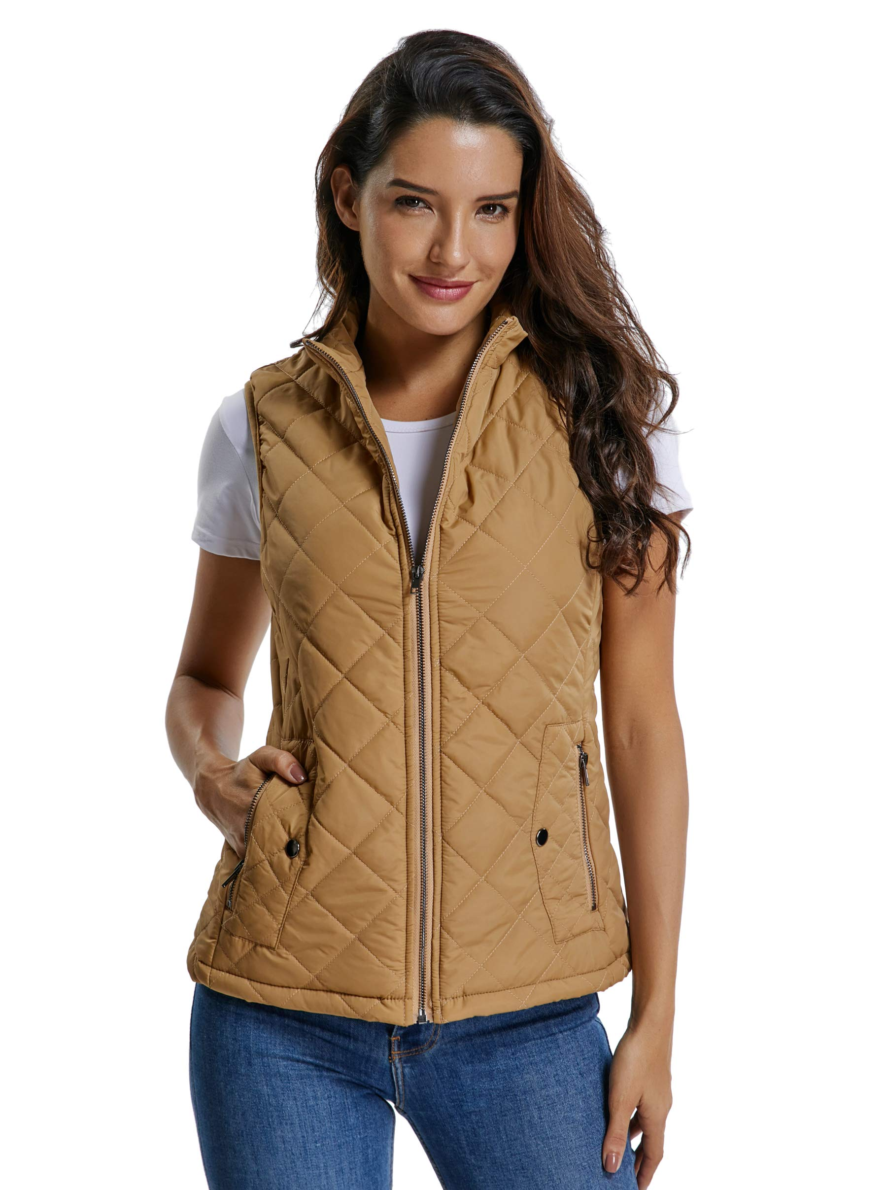 MISS MOLY Women's Lightweight Quilted Zip Vest Stand Collar Gilet Padded Sleeveless Vest-Camel L by MISS MOLY