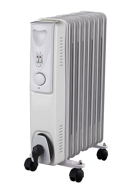 Radiador de aceite calefactor eléctrico blanco de 2000 W Daewoo (2000 vatios, 3 niveles