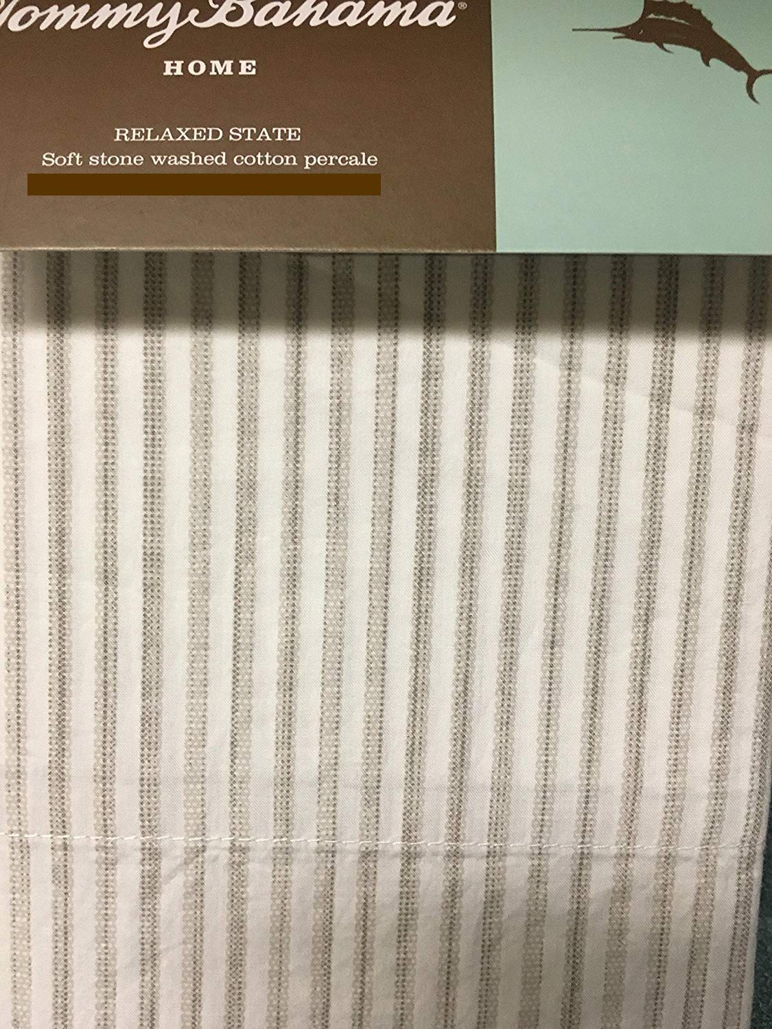 Tommy Bahama Paloma Stripe Soft Stone Washed Cotton Percale Pillowcase Set - Cool Grey - King