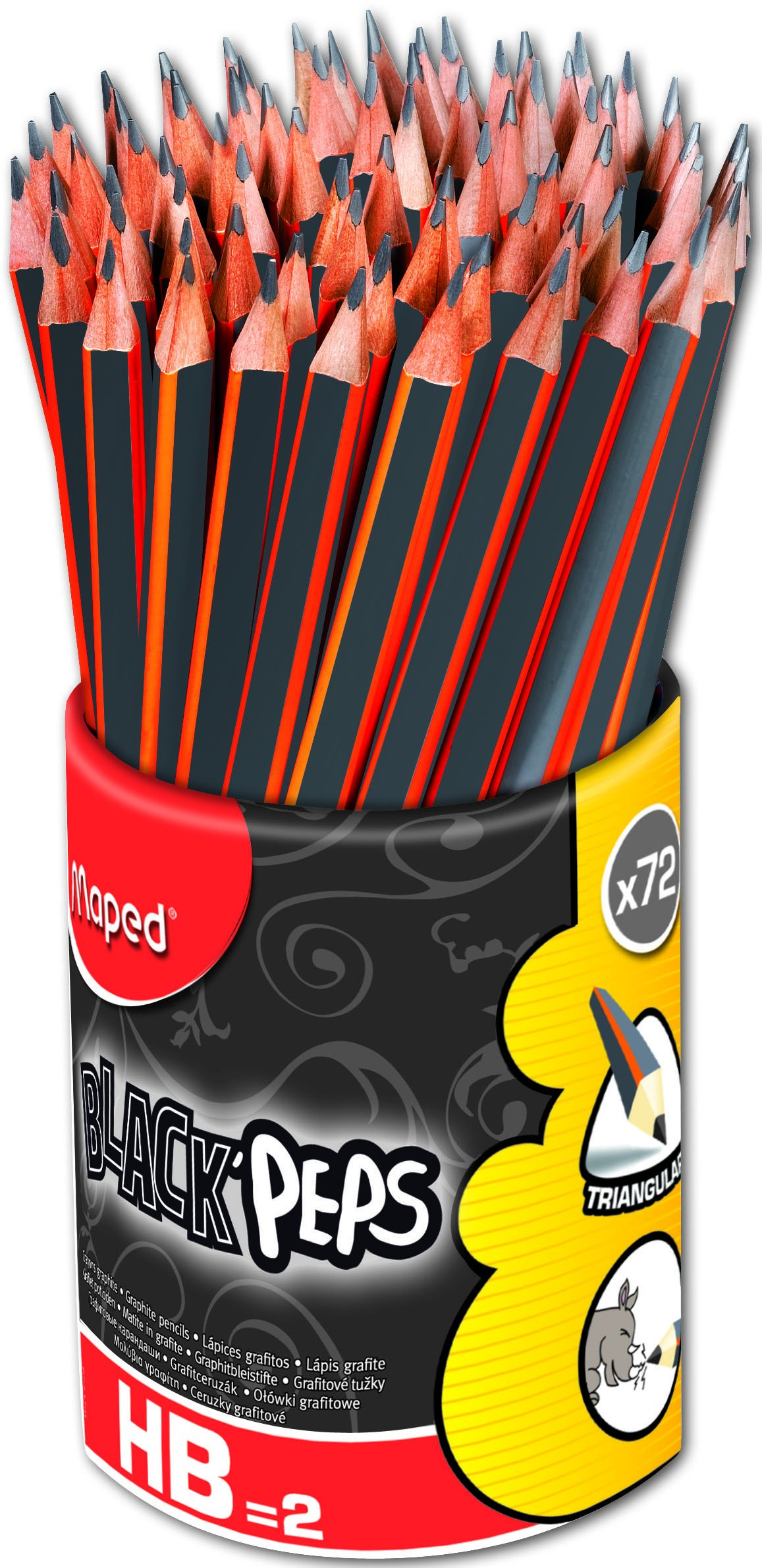 Maped Black'Peps Triangular Graphite #2 Pencils School Pack, Pack of 72 (851759ZV)
