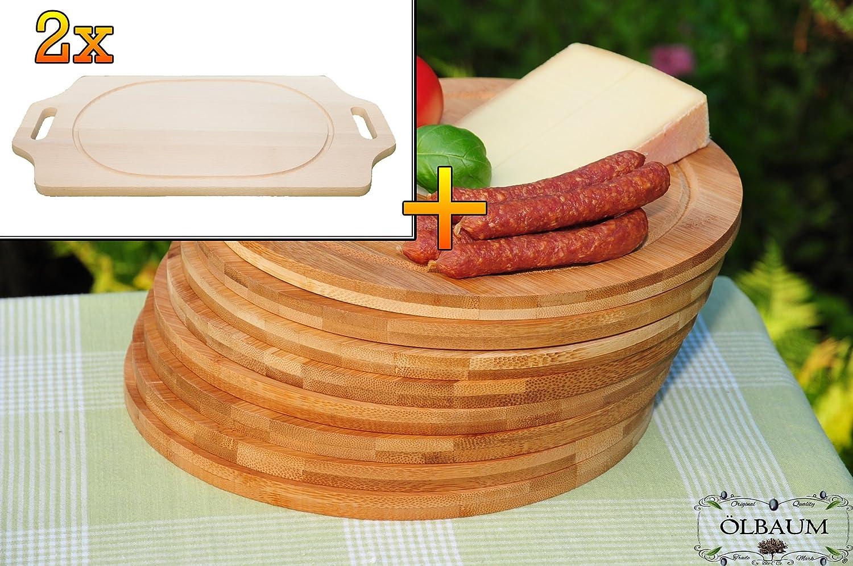 Bruschetta-Schneidebrett 2 Stück aus Buche - massive, hochwertige ca. 15 mm starke Picknick Grill-Holzbretter mit zwei Seitengriffen natur, Maße viereckig je ca. 36 cm x 29 cm & 8 Stück Schneidebrett - massive, hochwertige ca. 12 mm starke Picknick Grill-Holzbretter mit Rillung natur, dunkles Bambus, Maße rund je ca. 25 cm Durchmesser als Bruschetta-Servierbrett, Brotzeitbretter, Steakteller schinkenbrett rustikal, Schinkenteller von BTV, Brotzeitteller Bayern, Wildbrett, Wildbret,