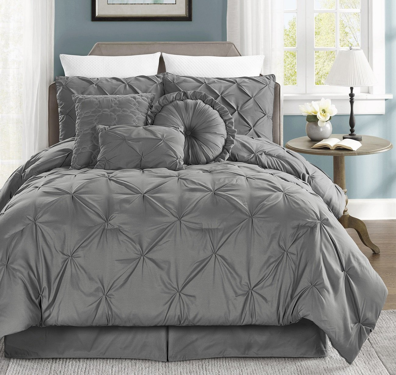 Chezmoi Collection Sydney 7-piece Pintuck Bedding Comforter Set (Queen, Gray