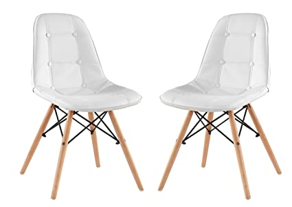 Classico Replica Eames Style Dining Chair   White (Pack Of 2)