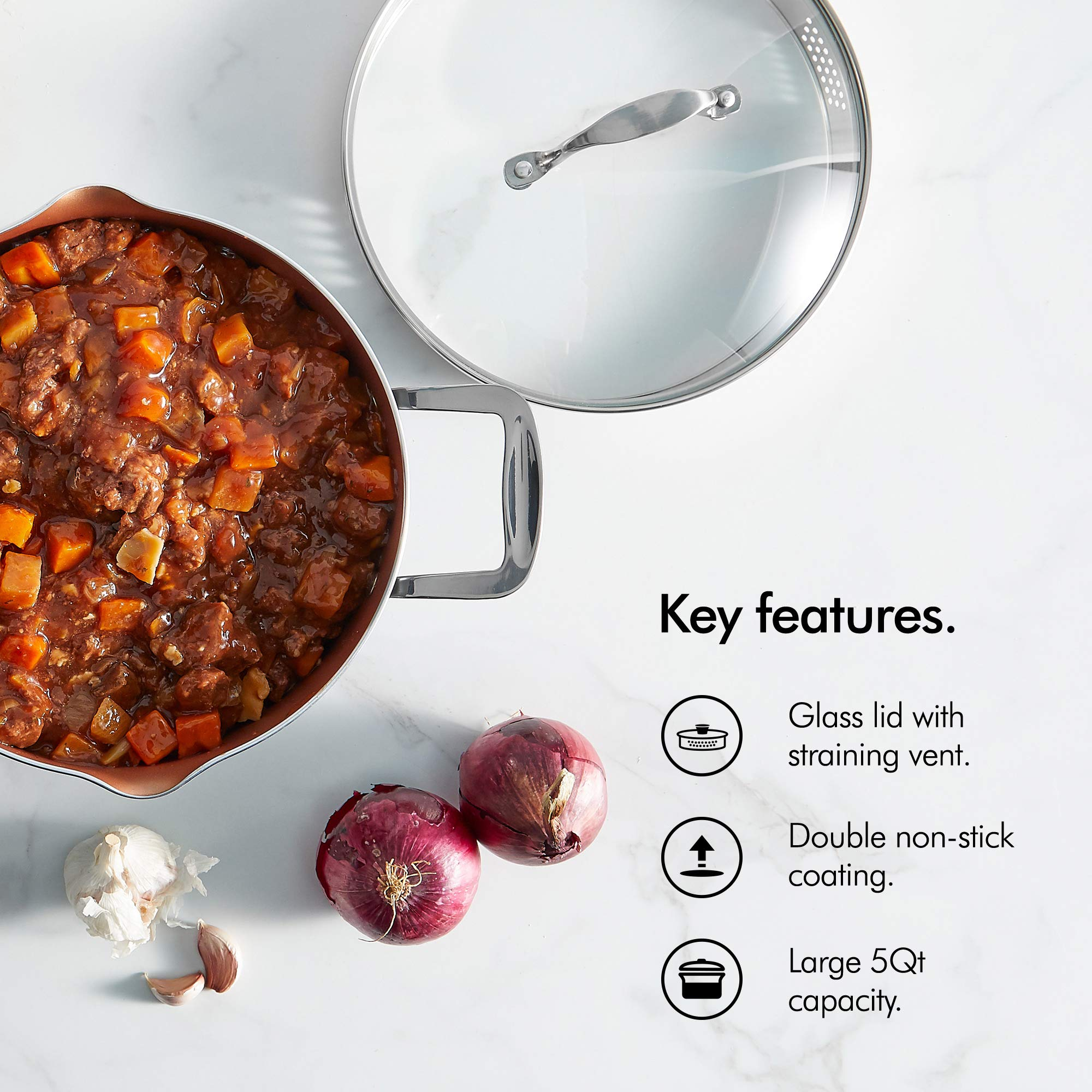 VonShef Casserole and Pasta Multi Pot with Strainer Lid, Easy Clean, Non-Stick Copper-Colored Interior, Stainless Steel Handles and Tempered Glass Lid, Induction Hob Ready, Copper, 5 Quart Capacity by VonShef (Image #3)