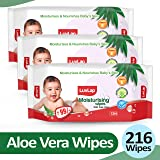 LuvLap Paraben Free Baby Wipes with Aloe Vera, 72 Wipes/Pack, Pack of 3