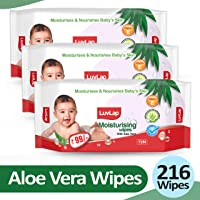 LuvLap Baby Moisturising Wipes with Aloe Vera, 72 Wipes, Pack of 3 Combo