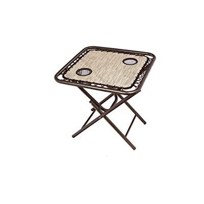 Bliss Hammocks GFC-TBL-S Foldable Camping Side Table with Cupholders, Sand : Garden & Outdoor