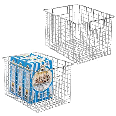 mDesign Household Metal Wire Storage Organizer Bins Basket with Handles for Kitchen Cabinets, Pantry, Bathroom, Landry Room, Closets, Garage - 2 Pack, 12  x 9  x 8 , Chrome