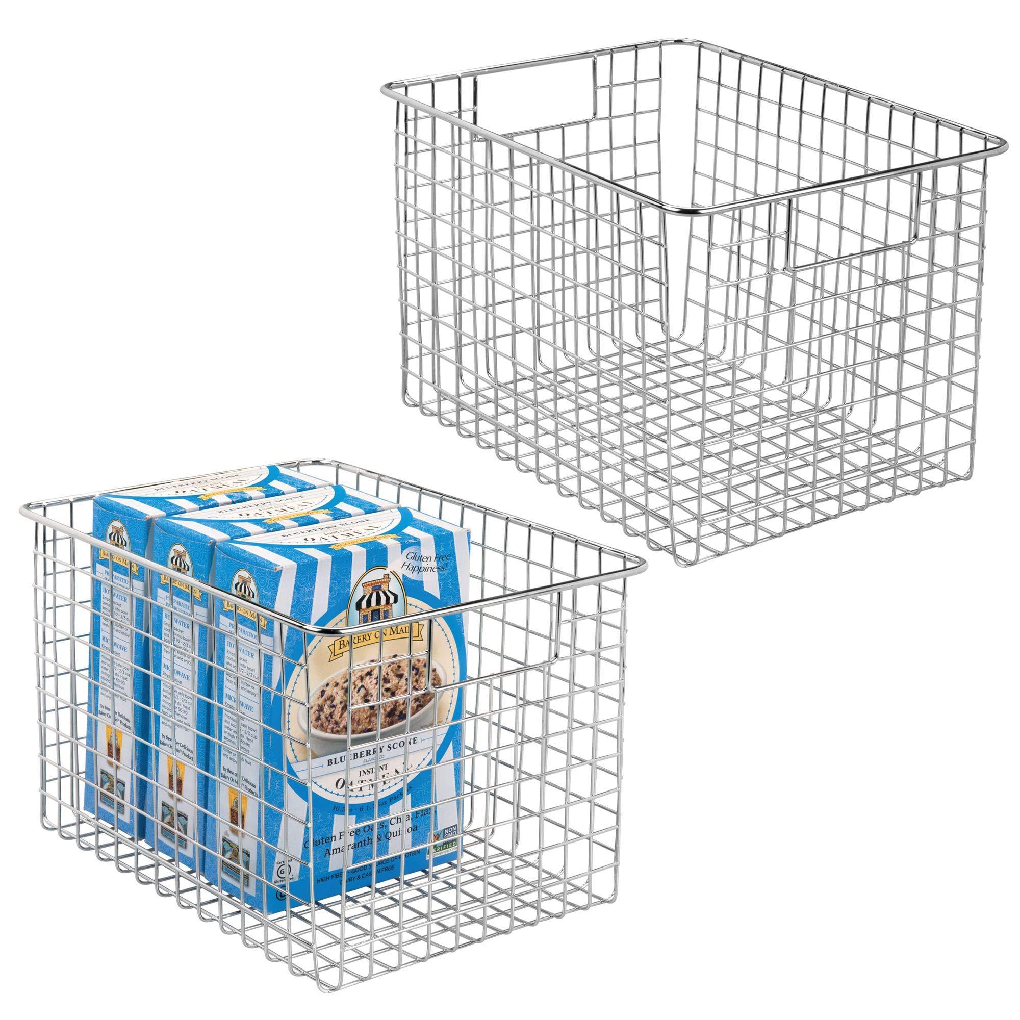 mDesign Kitchen Pantry Freezer Food Storage Organizing Metal Steel Wire Baskets Bins with Handles, 12'' x 9'' x 8'' - Set of 2, Chrome