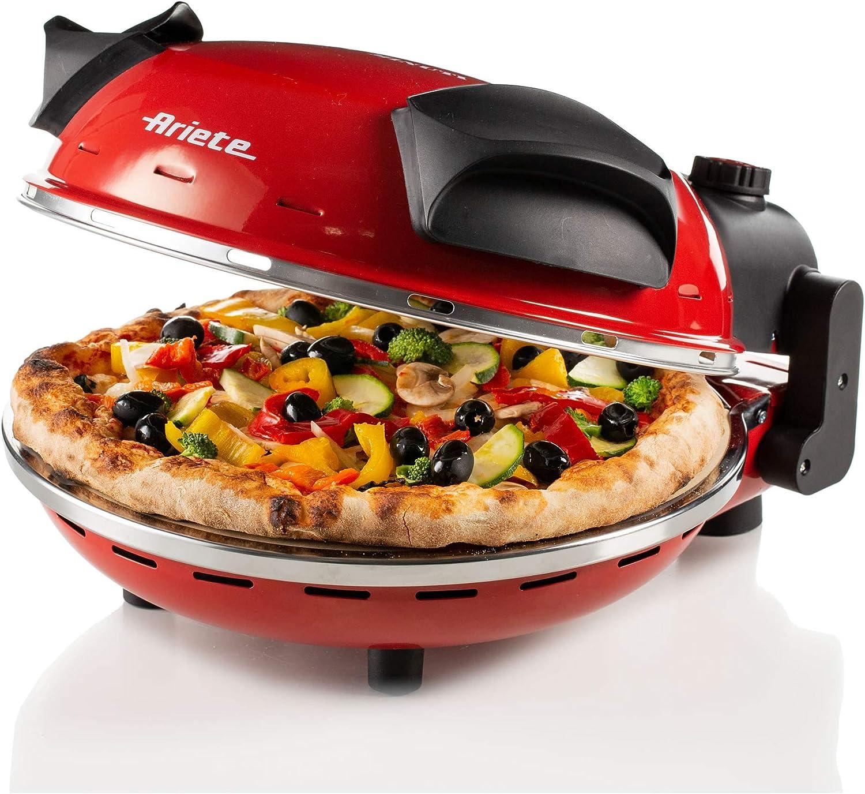 Ariete 909 - Mini horno para pizza en 4 minutos, 1200 W, 5 niveles temperatura, diámetro 33 cm, regulador de tiempo 30 minutos y temperatura, indicador luminosos encendido/apagado, color rojo negro: Amazon.es: Hogar