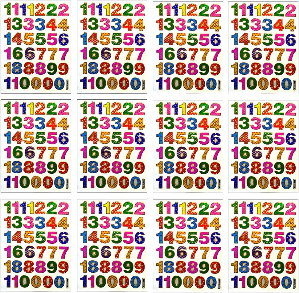 Card Envelope Each Number High 1.8cm Album. 12 Sheets Self-Adhesive Glitter Metallic Foil Reflective Sticker Decorative Scrapbook for Kid Photo Colorful 0-9 Number Birthday Party Diary