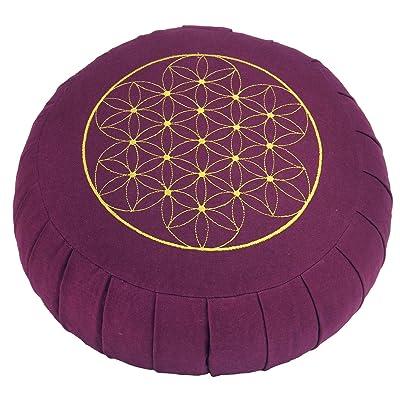 """ZAFU de méditation rond bASIC (aubergine) avec soufflets avec broderie «fleurs de vie """"épeautre-garnissage ø 32 cm, hauteur 17 cm, coussin de yoga"""