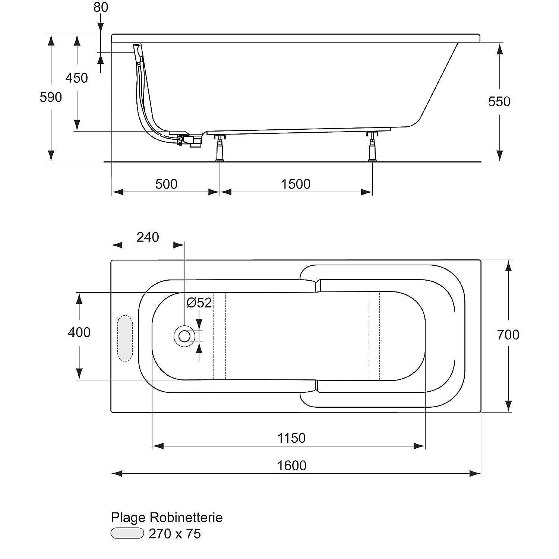 Ideal Standard J480401 Kheops Baignoire rectangulaire 160 x 70 Blanc   Amazon.fr  Bricolage 0b08f42b86c5