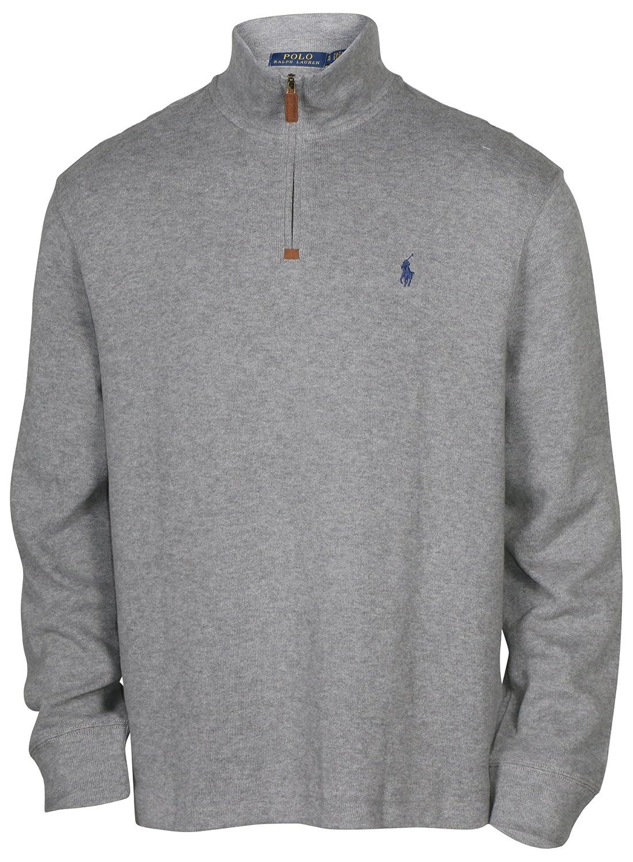 Polo Ralph Lauren Mens Half Zip French Rib Cotton Sweater (XX-Large, Winter Grey/Navy Pony)