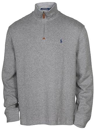 8f9cede5 Polo Ralph Lauren Mens Half Zip French Rib Cotton Sweater (XX-Large, Winter  Grey/Navy Pony)