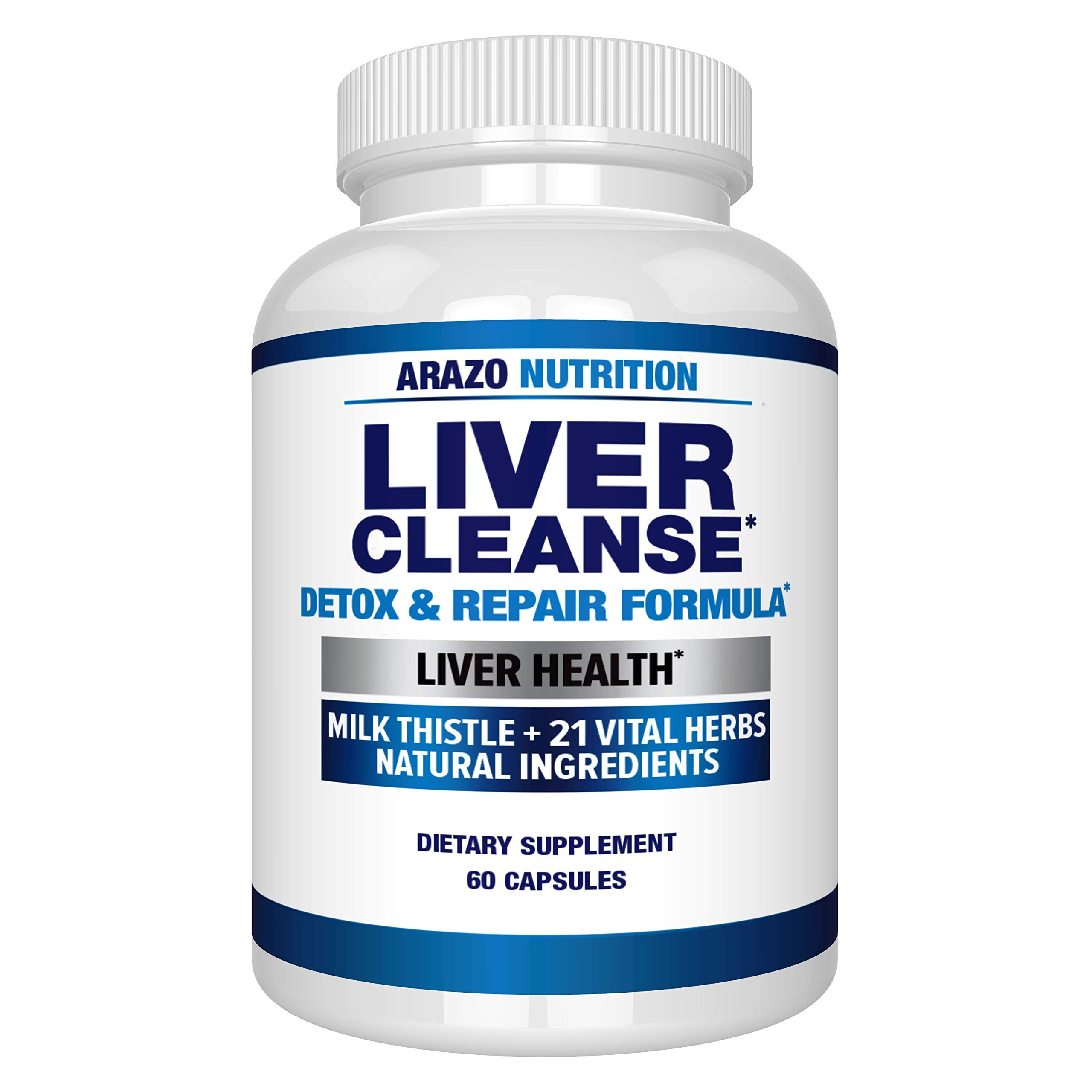 Liver Cleanse Detox & Repair Formula – 22 Herbs Support Supplement: Milk Thistle Extracts Silymarin, Beet, Artichoke, Dandelion, Chicory Root – Arazo Nutrition
